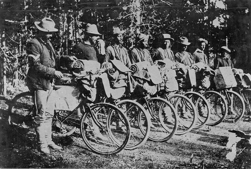 25th Infantry Bicycle Corp at Yellowstone National Park.No copyright infringement intended