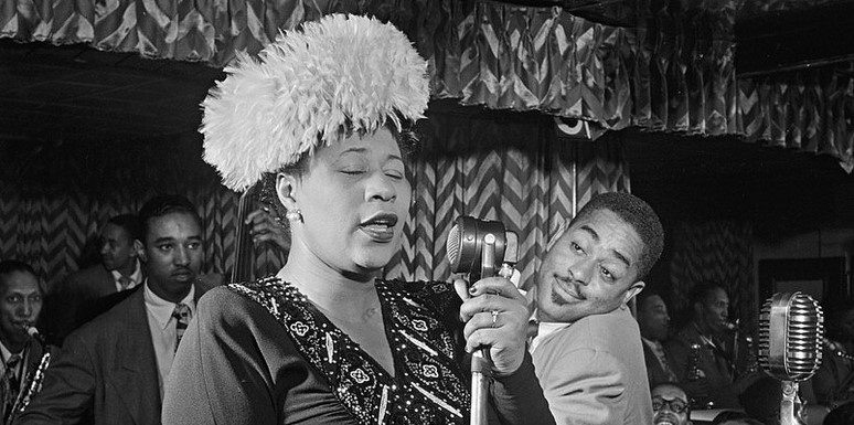 Ella Fitzgerald with Dizzy Gillespie and others in September 1947