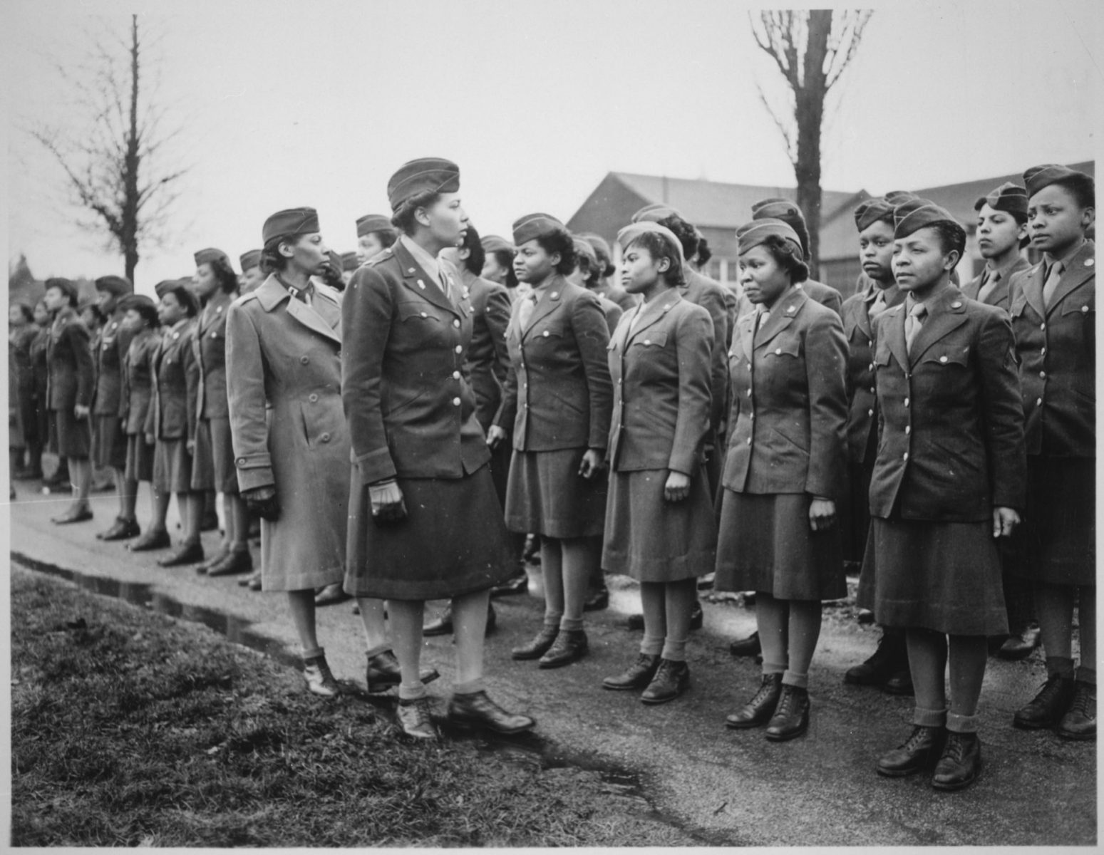 Major Colonel Charity Adams Earley and military members of the 6888th Central Postal Directory Batallion (No copyright infringement intended).