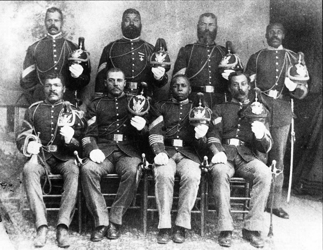 "14 of the 18 Medal of Honor recipients during the Indian Wars, 1866-1890 were Buffalo Soldiers.  Pictured are 8 of those 14 soldiers from the 9th and 10th U.S. Calvary.  The  other 4, according to Morris, were  ""recipients were Black Seminole scouts on the plains and in Arizona, New Mexico and Texas"" (No copyright infringement intended)."