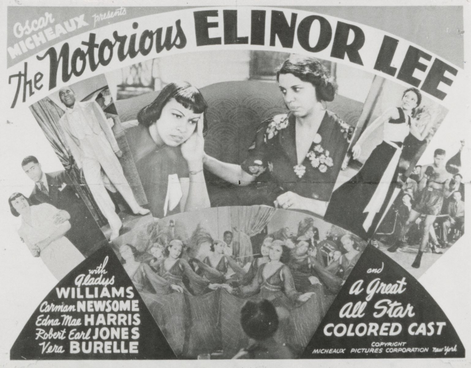 Promotional poster for the film, The Notorious Elinor Lee, by Oscar Micheaux.