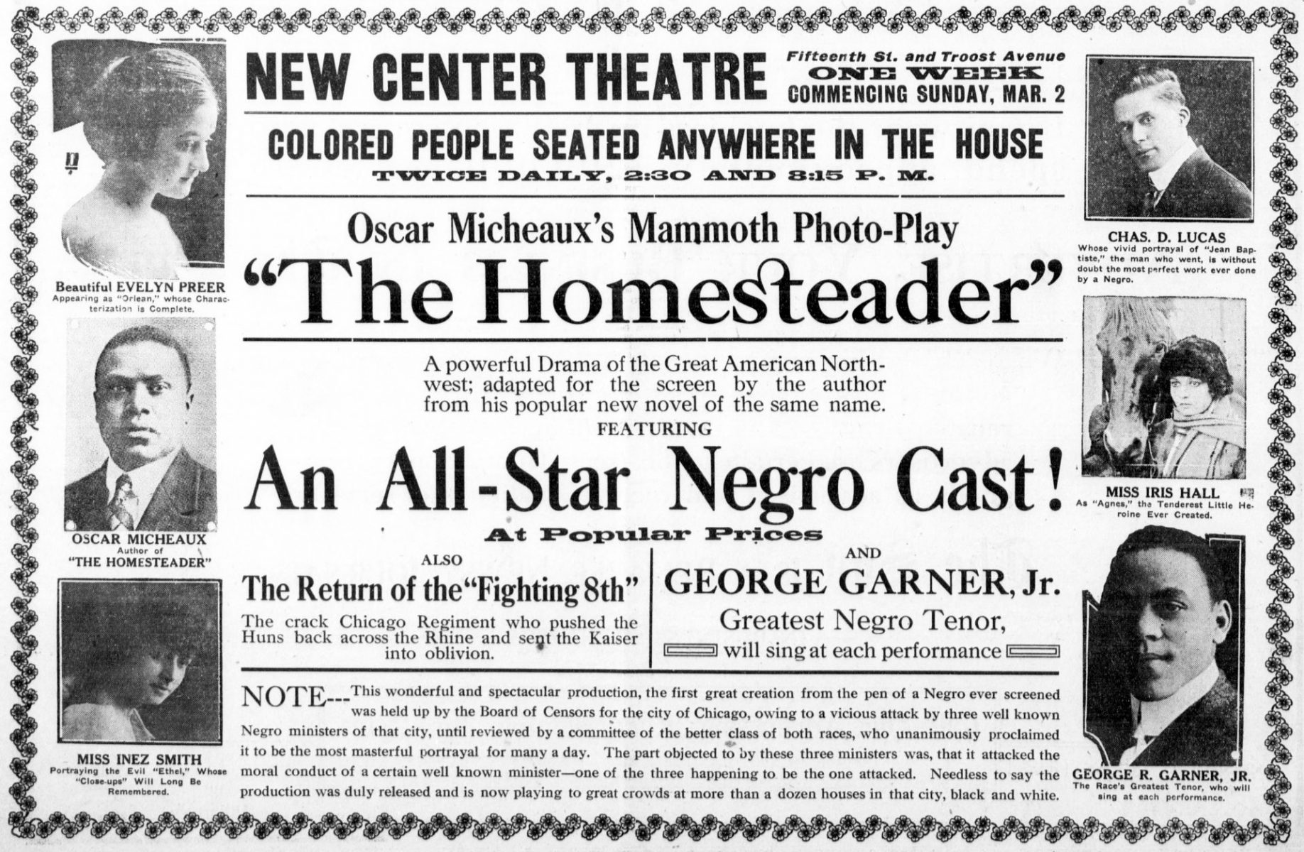 "Promotional poster for the film, ""The Homesteader"" by Oscar Micheaux."
